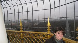 A rare moment of calm from the crowds as I climb a tower in the early days of my time in Berlin.