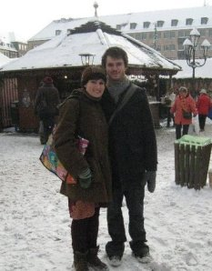 LSB and I at the Christmas markets in Nuernberg. That day the snow was not so deep..