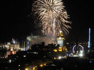 View of firework display from Calton Hill